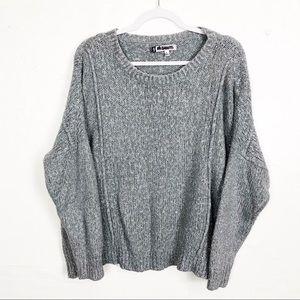 Jennifer Lopez Gray Sparkling Chunky Knit Sweater